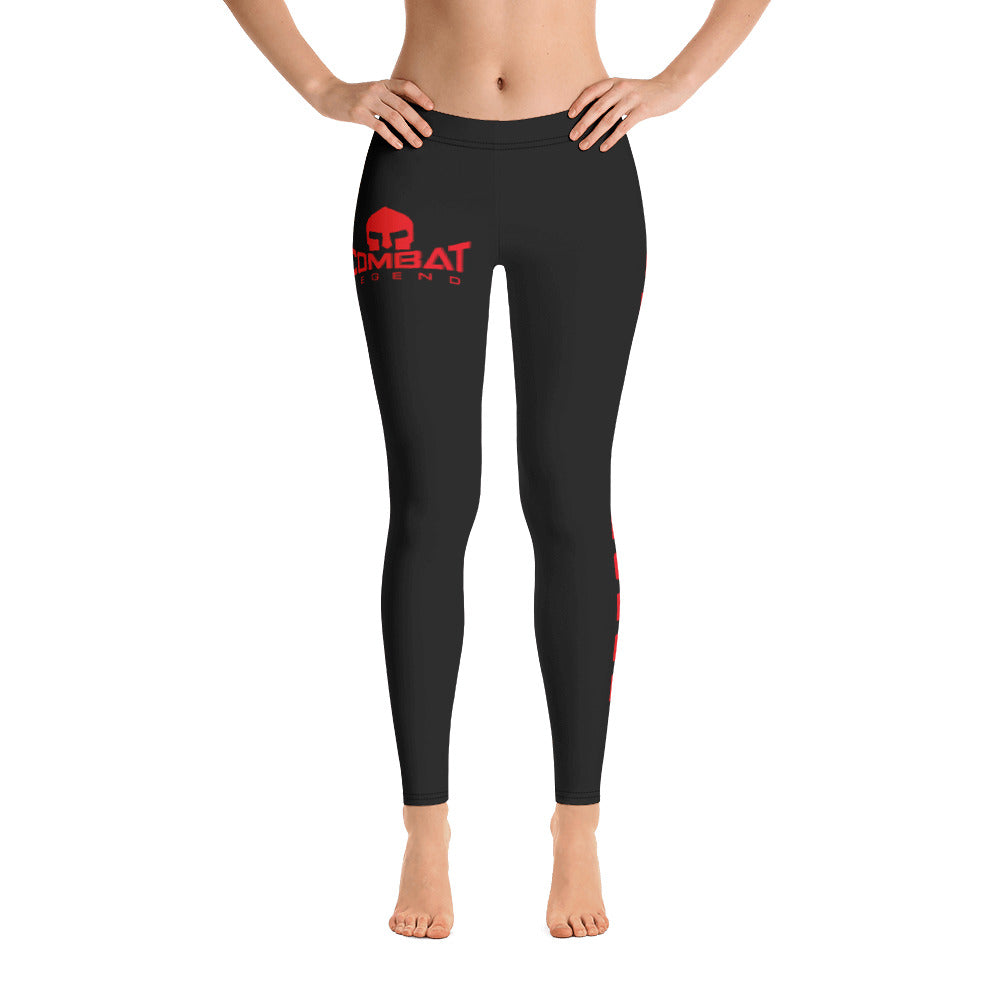 Combat Legend Red on Black Lowrise Leggings