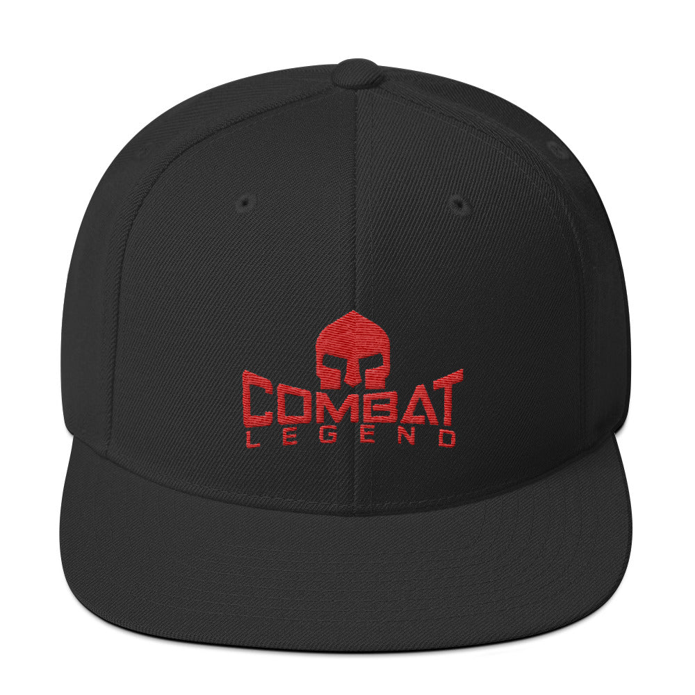 Combat Legend Red on Solid Black Snapback 1