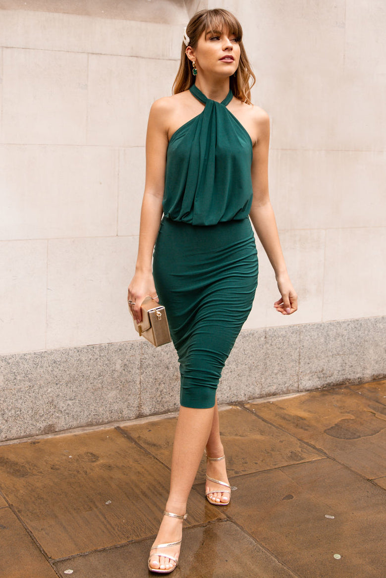 Esme Halter Neck Midi Dress in Emerald Green