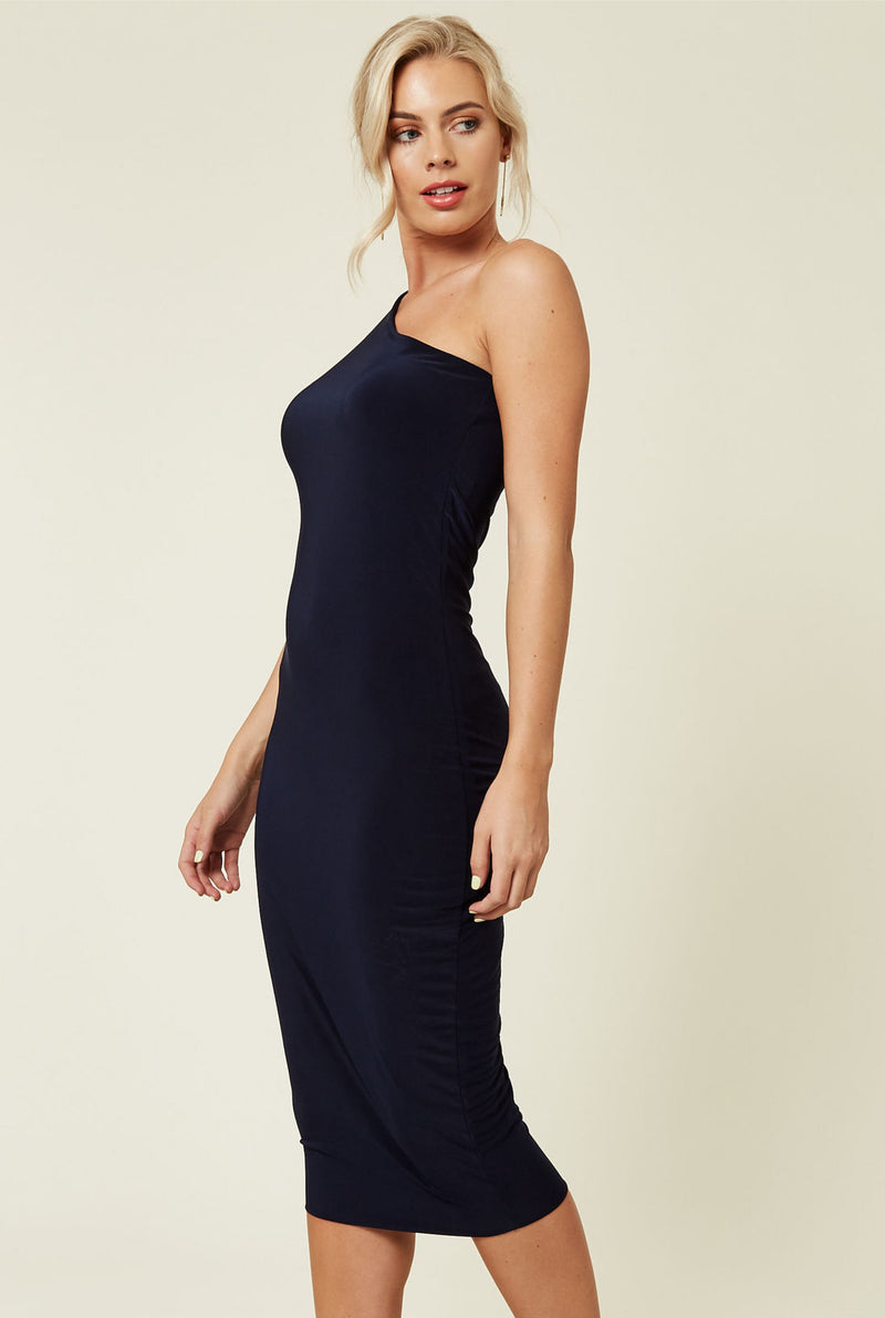 Midi navy one shoulder dress