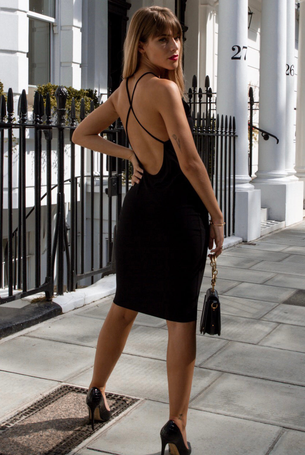 Kylie Backless Cross Back Midi Dress in Black