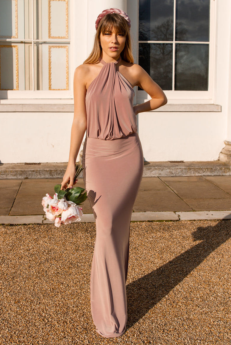 Melody Halterneck Bridesmaid Maxi Dress in Coco Blush