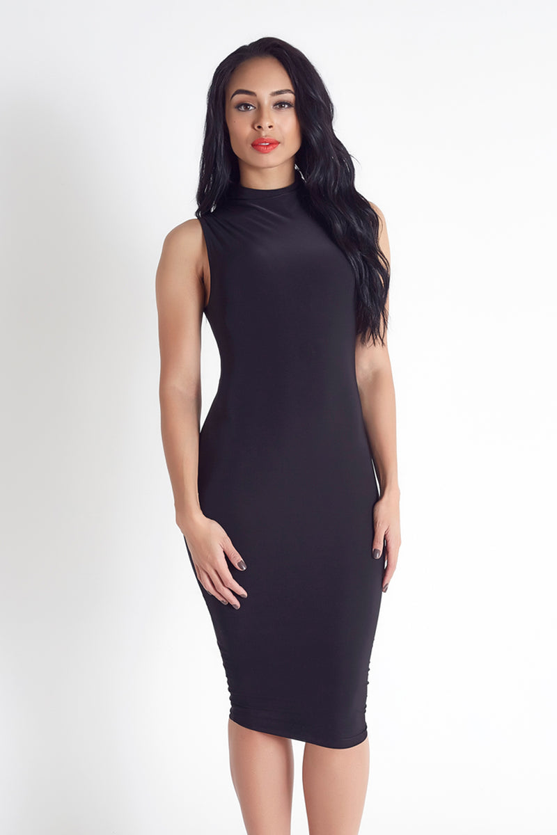 Layla Cowl Neck Midi Dress in Black