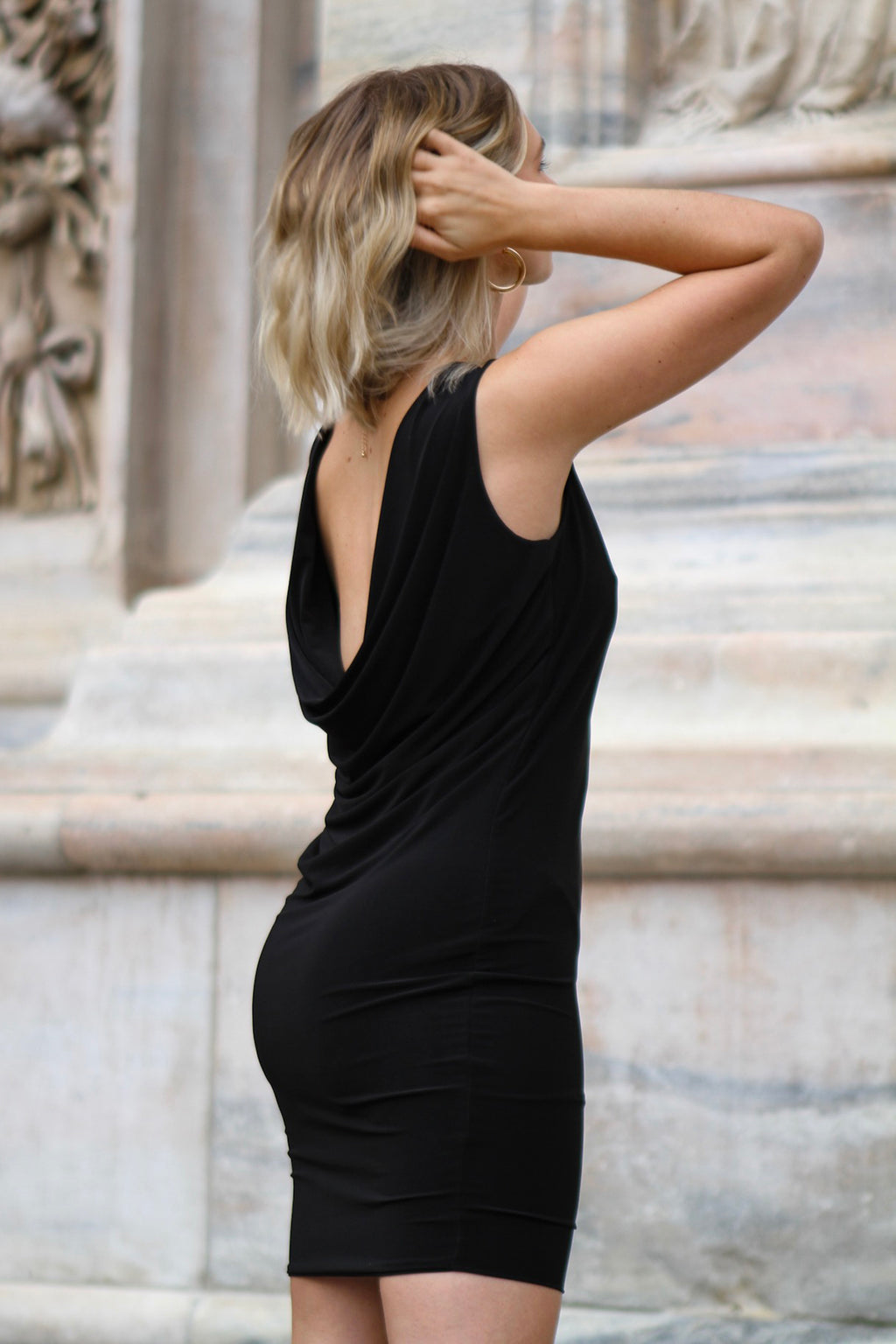 Black Drape Back Mini Dress
