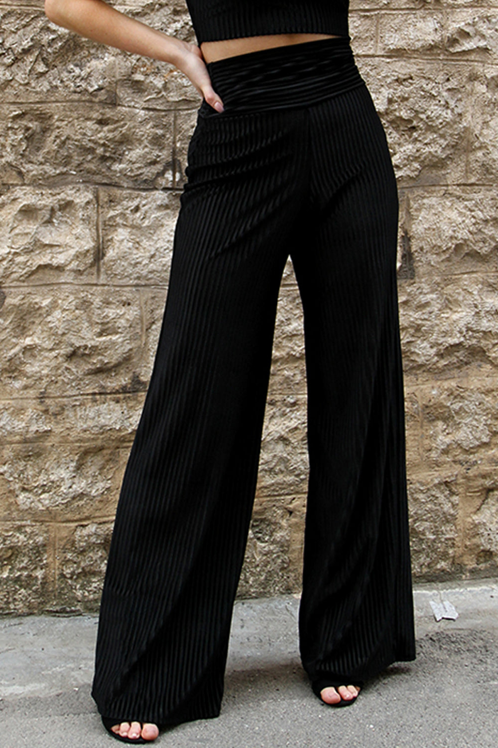Ella Velvet Burnout Stripe High Waisted Trousers in Black