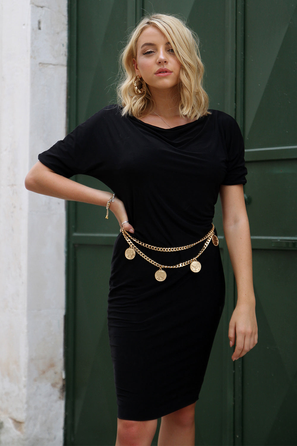 Long sleeve one shoulder LBD