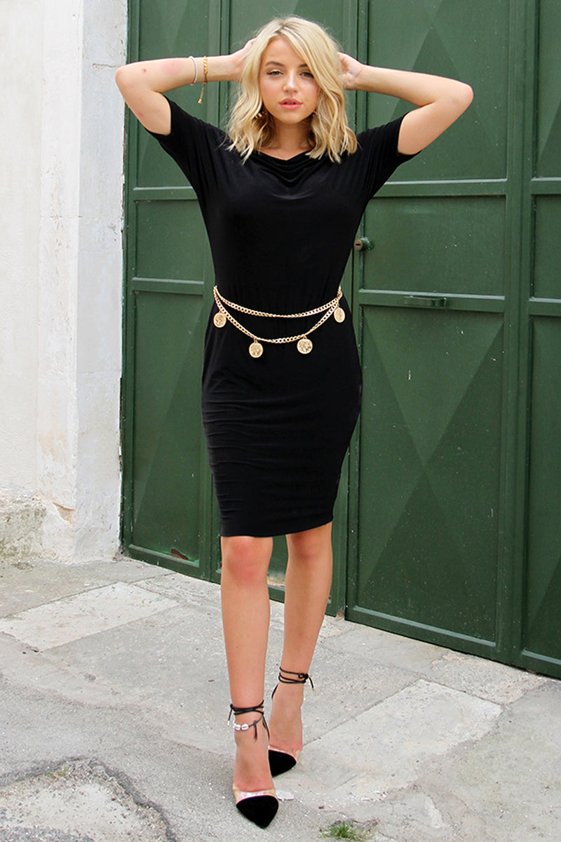 Long sleeve one shoulder midi black dress