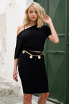 Jessica One Shoulder Balloon Sleeve Midi Dress in Black
