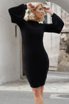 Ruby Balloon Long Sleeve Mini Dress in Black