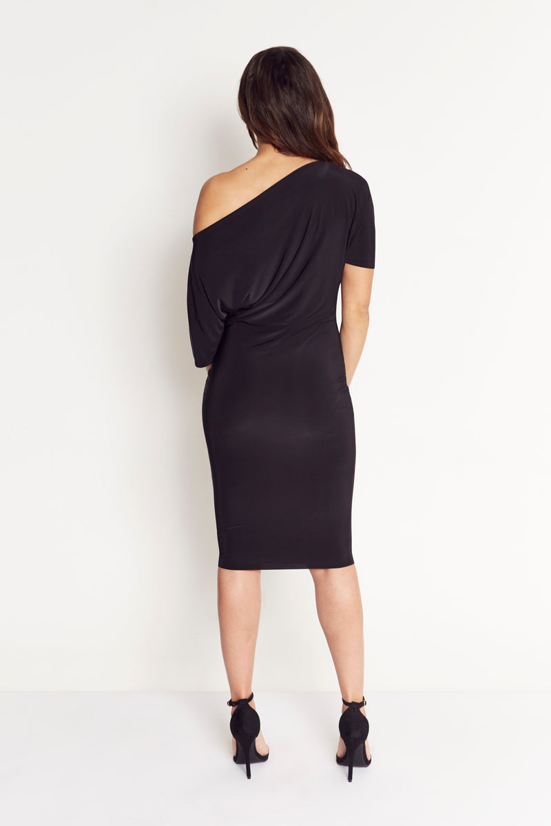 Lily One Shoulder Midi Dress in Black