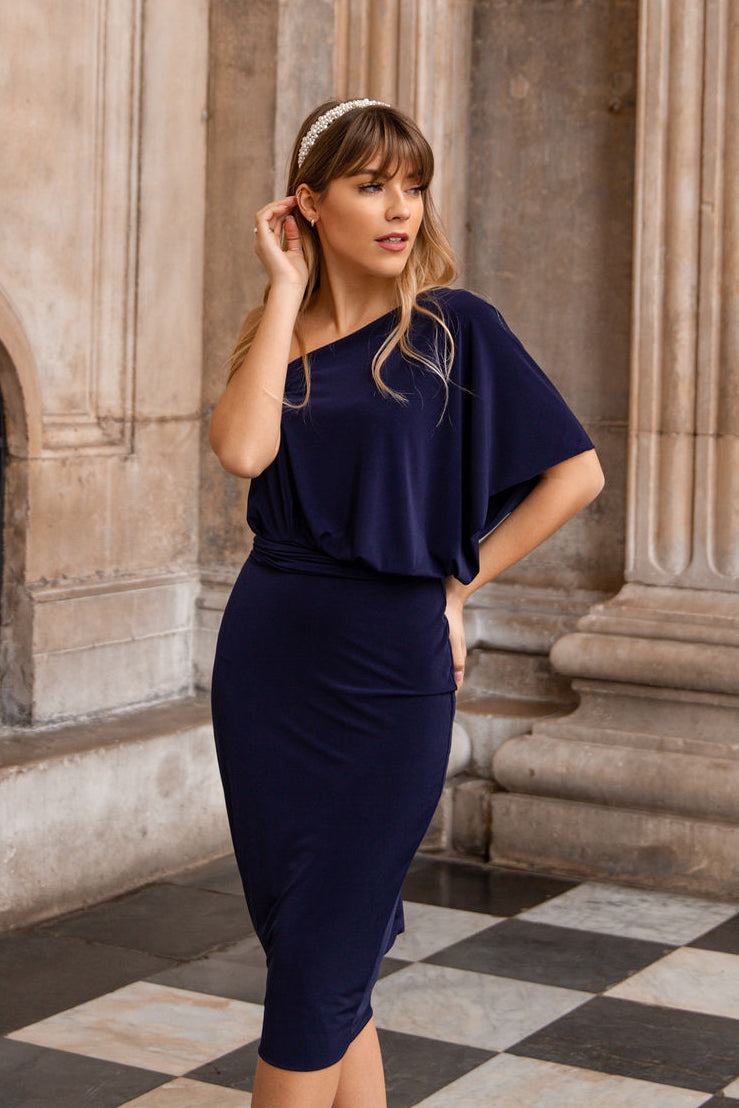 Thea One Shoulder Two Way Midi Dress in Navy