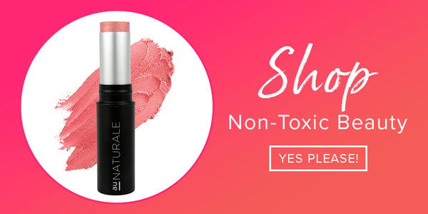 Pink banner image that says 'shop non-toxic beauty'