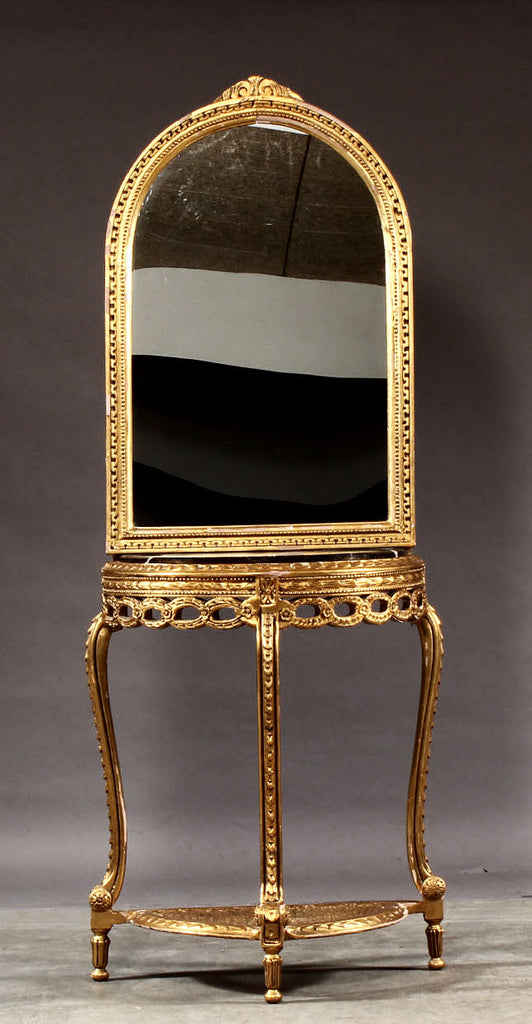 Antique freestanding hall console and gilded mirror