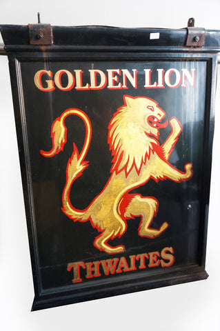 Vintage English Golden Lion pub sign