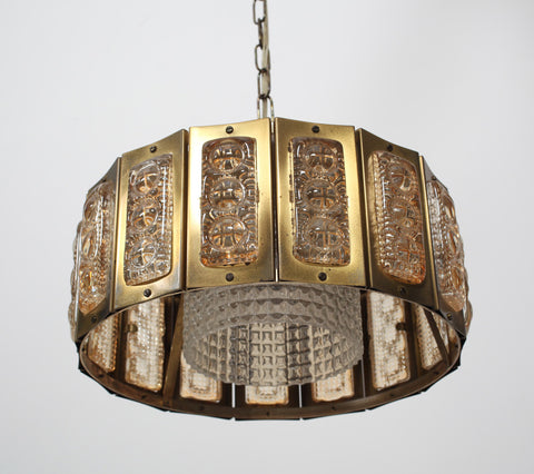 Danish 1960's brass and glass pendant light