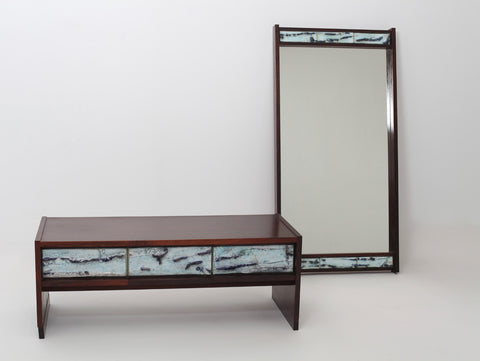 Danish 70's designer ceramic and rosewood hallway console