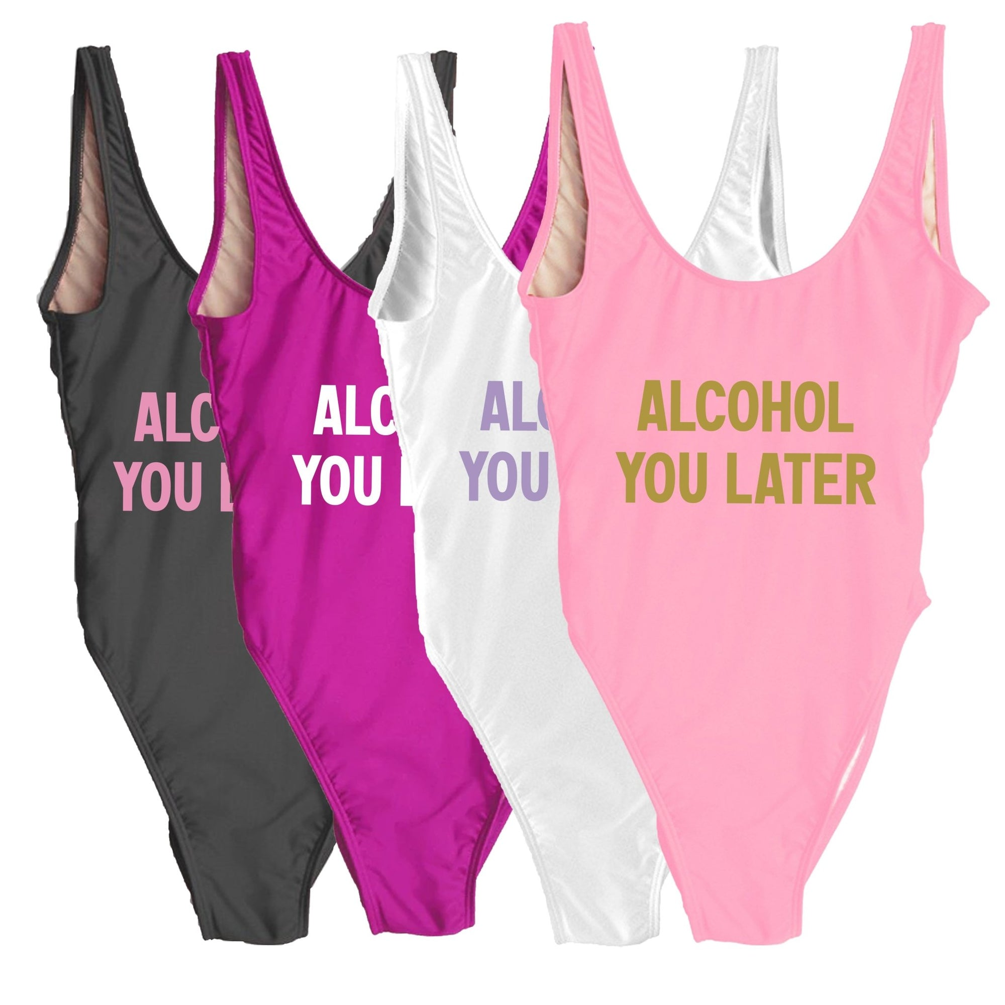 Alcohol You Later Swimsuit - Sprinkled With Pink #bachelorette #custom #gifts