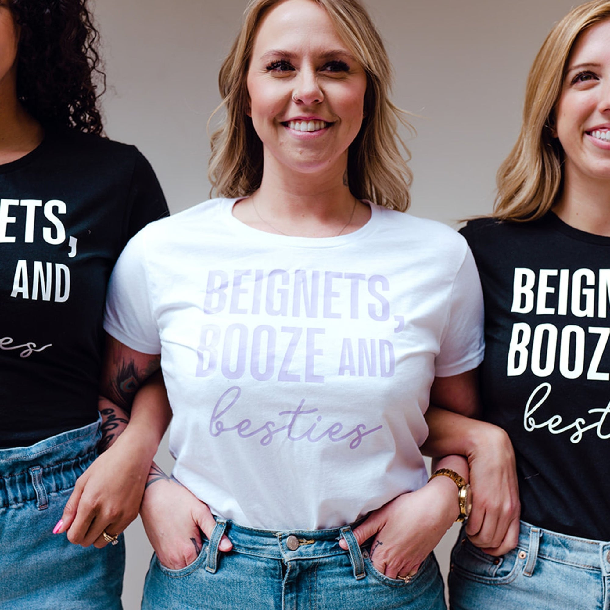 Beignets, Booze & Besties Shirt - Sprinkled With Pink #bachelorette #custom #gifts
