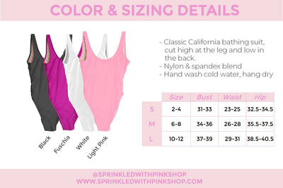 Blonde/Brunette Swimsuit - Sprinkled With Pink #bachelorette #custom #gifts
