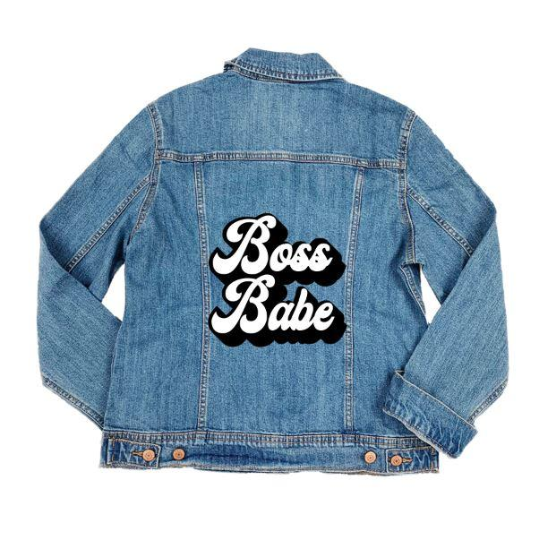 Boss Babe Denim Jacket - Sprinkled With Pink #bachelorette #custom #gifts