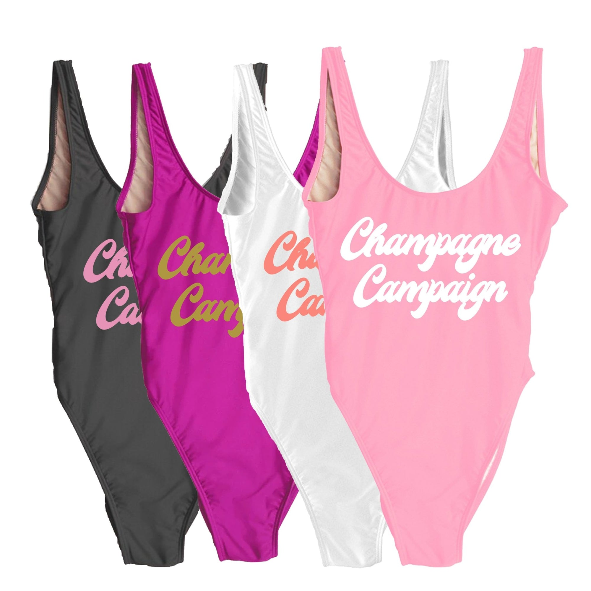 Champagne Campaign Swimsuit - Sprinkled With Pink #bachelorette #custom #gifts