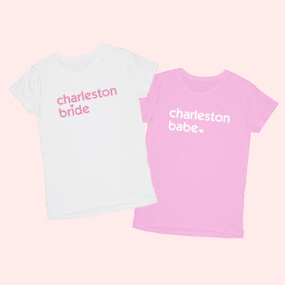 Charleston Bride & Babe Shirt - Sprinkled With Pink #bachelorette #custom #gifts