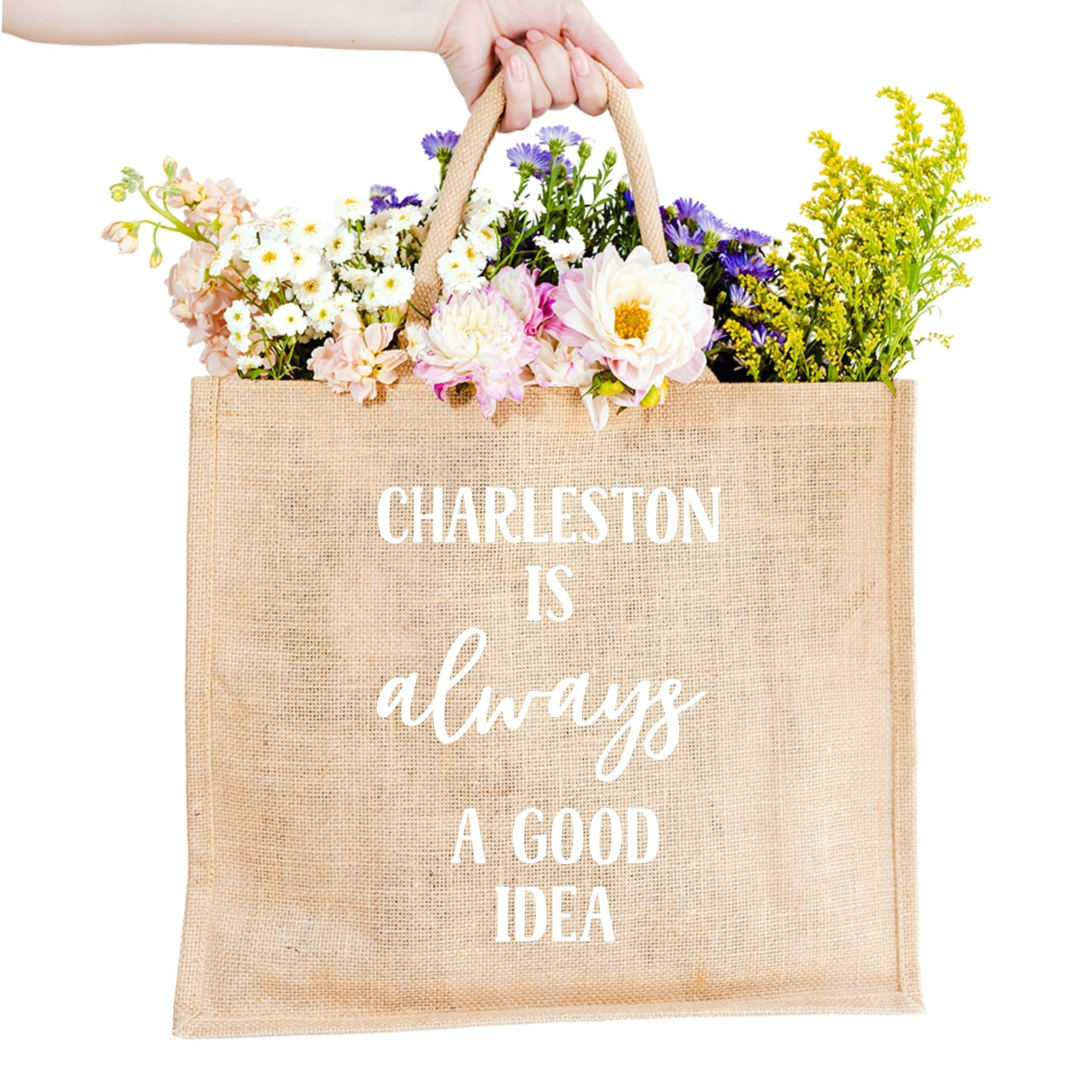 Charleston is Always A Good Idea Jute Carryall - Sprinkled With Pink #bachelorette #custom #gifts