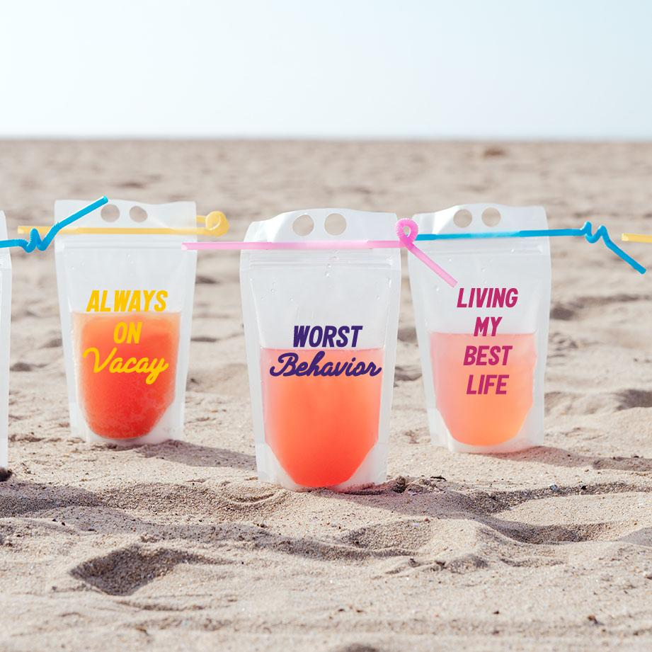 Cheers Beaches Party Pouch, Set of 5 - Sprinkled With Pink #bachelorette #custom #gifts