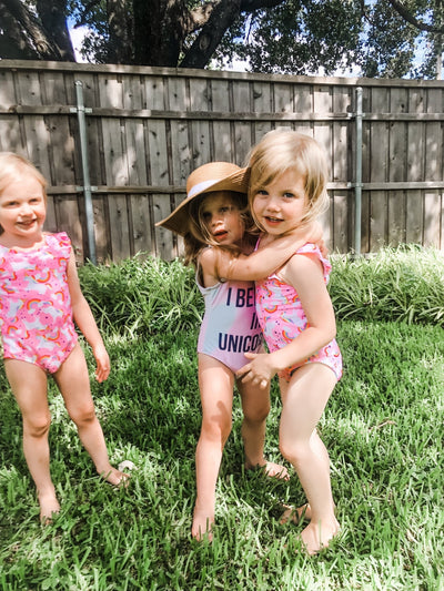 Children's Custom Saying, Floppy Beach Hat - Sprinkled With Pink #bachelorette #custom #gifts