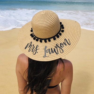 Custom, Black Pom Pom Floppy Beach Hat - Sprinkled With Pink #bachelorette #custom #gifts