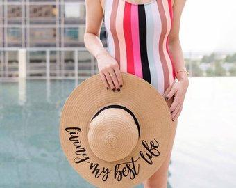 Custom Floppy Beach Hat - Sprinkled With Pink #bachelorette #custom #gifts