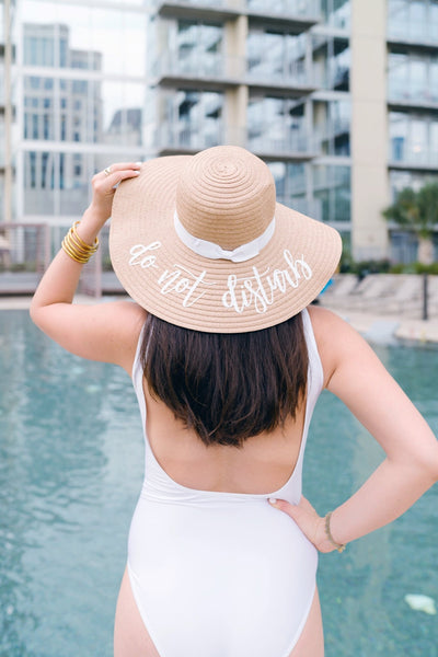 Custom Saying, Floppy Beach Hat (White Ribbon) - Sprinkled With Pink #bachelorette #custom #gifts