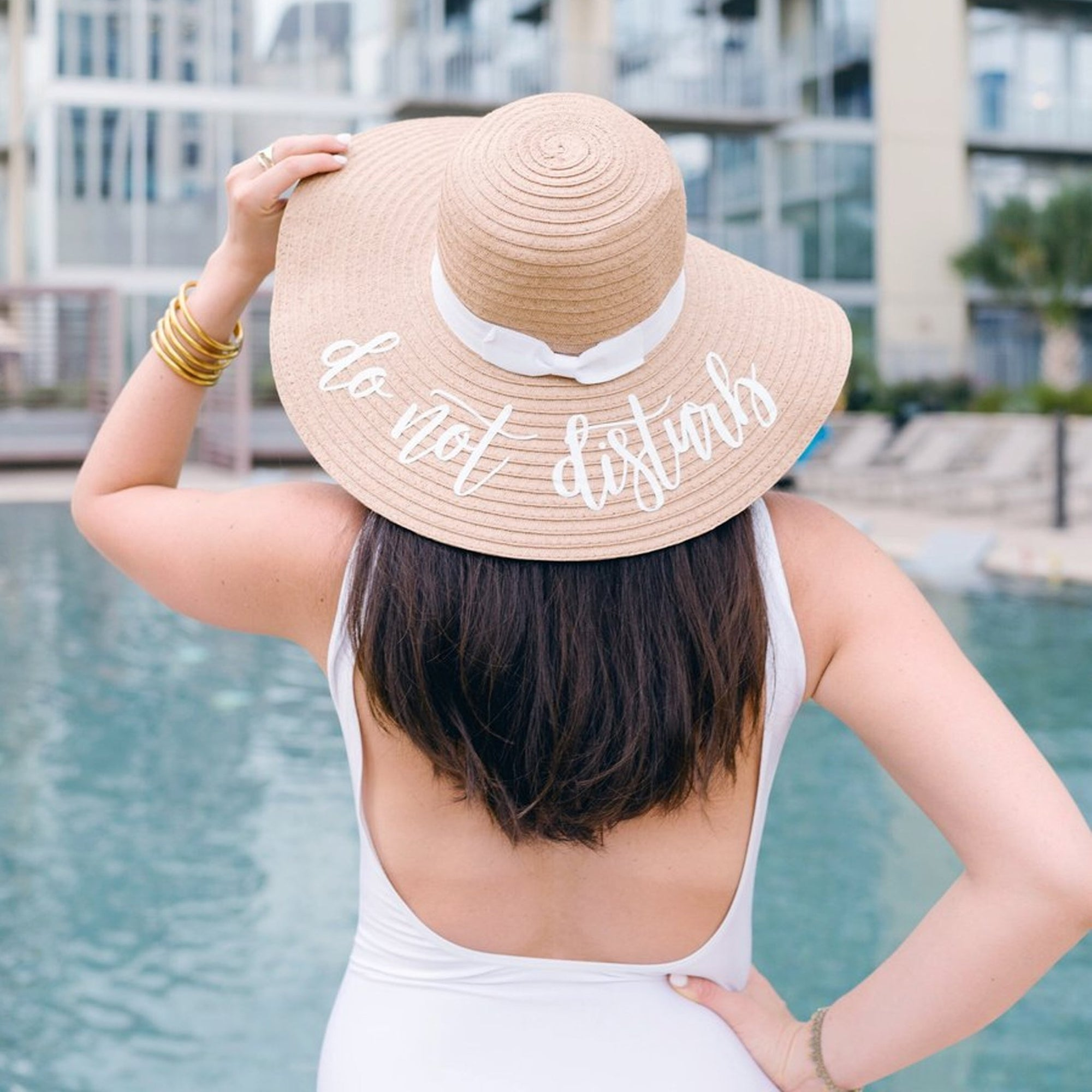 Custom Saying, Floppy Beach Hat (White Ribbon)