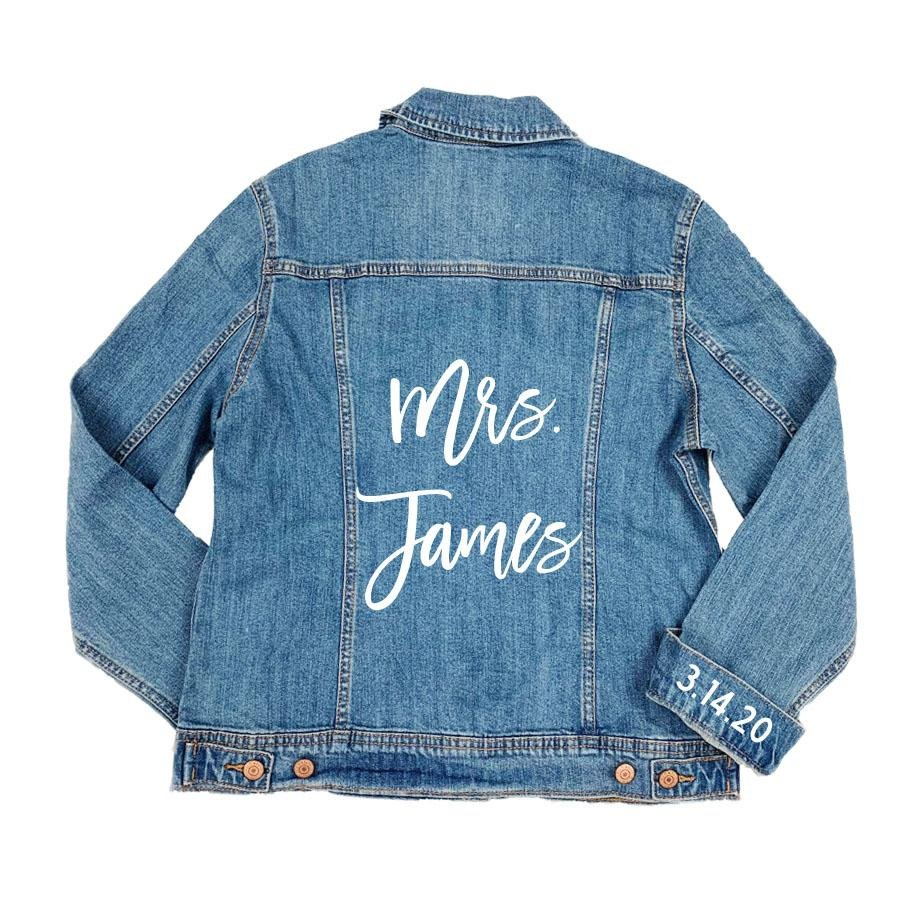 Custom Script Denim Jacket & Cuff Date - Sprinkled With Pink #bachelorette #custom #gifts