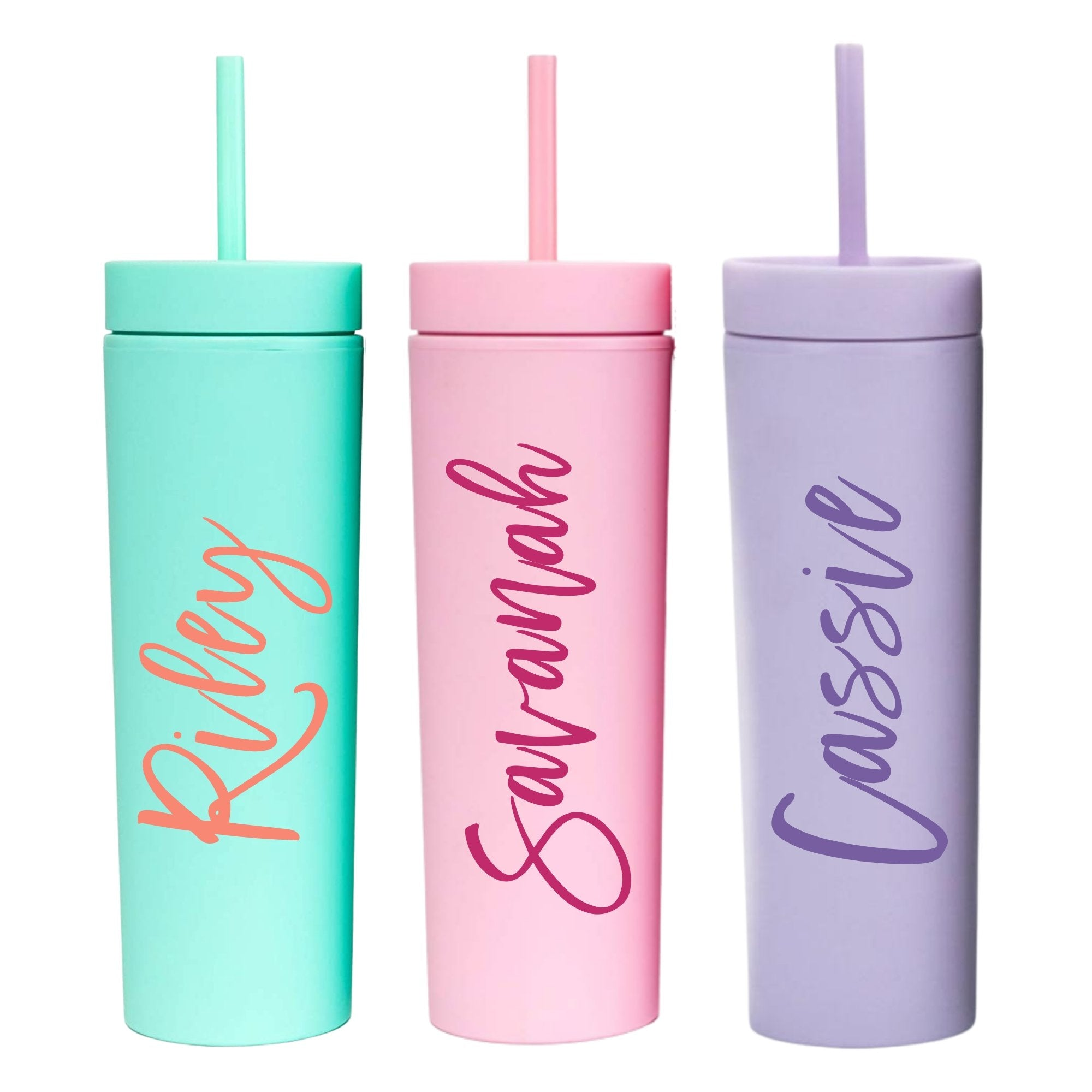 Custom Script Matte Skinny Tumbler - Sprinkled With Pink #bachelorette #custom #gifts
