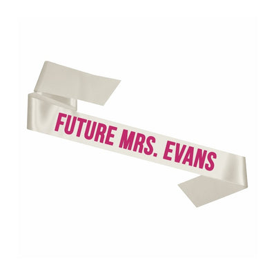 Custom White Future Mrs. Sash - Sprinkled With Pink #bachelorette #custom #gifts