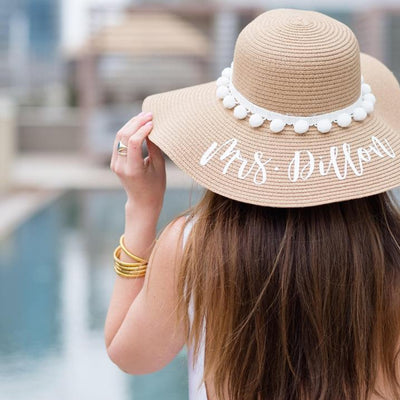 Custom White Pom Pom Floppy Beach Hat - Sprinkled With Pink #bachelorette #custom #gifts