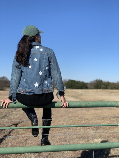 Custom Wording Star Denim Jacket - Sprinkled With Pink #bachelorette #custom #gifts