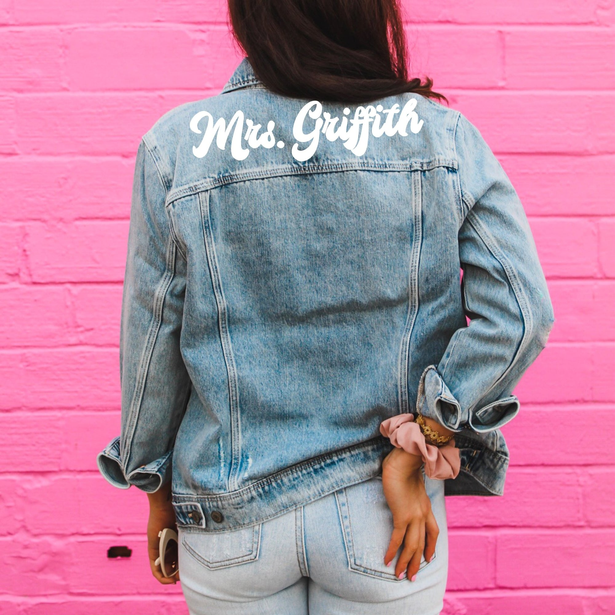 DIY Denim Jacket - Sprinkled With Pink #bachelorette #custom #gifts