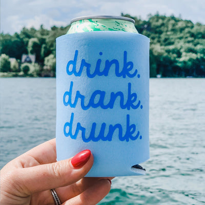 Drink Drank Drunk Can Cooler - Sprinkled With Pink #bachelorette #custom #gifts