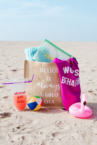 Eat Beach Sleep Repeat Jute Carryall - Sprinkled With Pink #bachelorette #custom #gifts