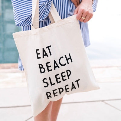 Eat Sleep Beach Repeat Tote - Sprinkled With Pink #bachelorette #custom #gifts