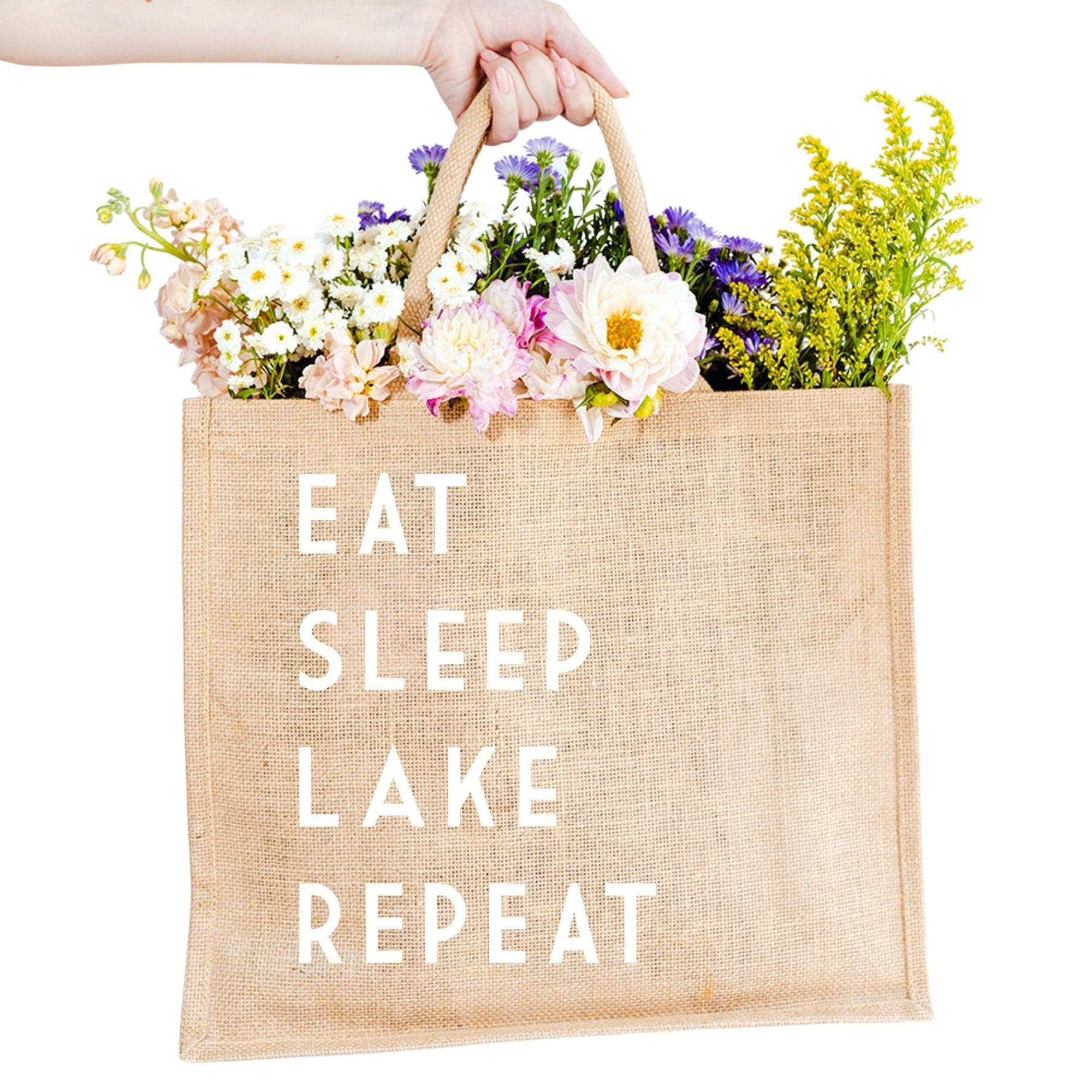 Eat Sleep Lake Repeat Jute Carryall - Sprinkled With Pink #bachelorette #custom #gifts