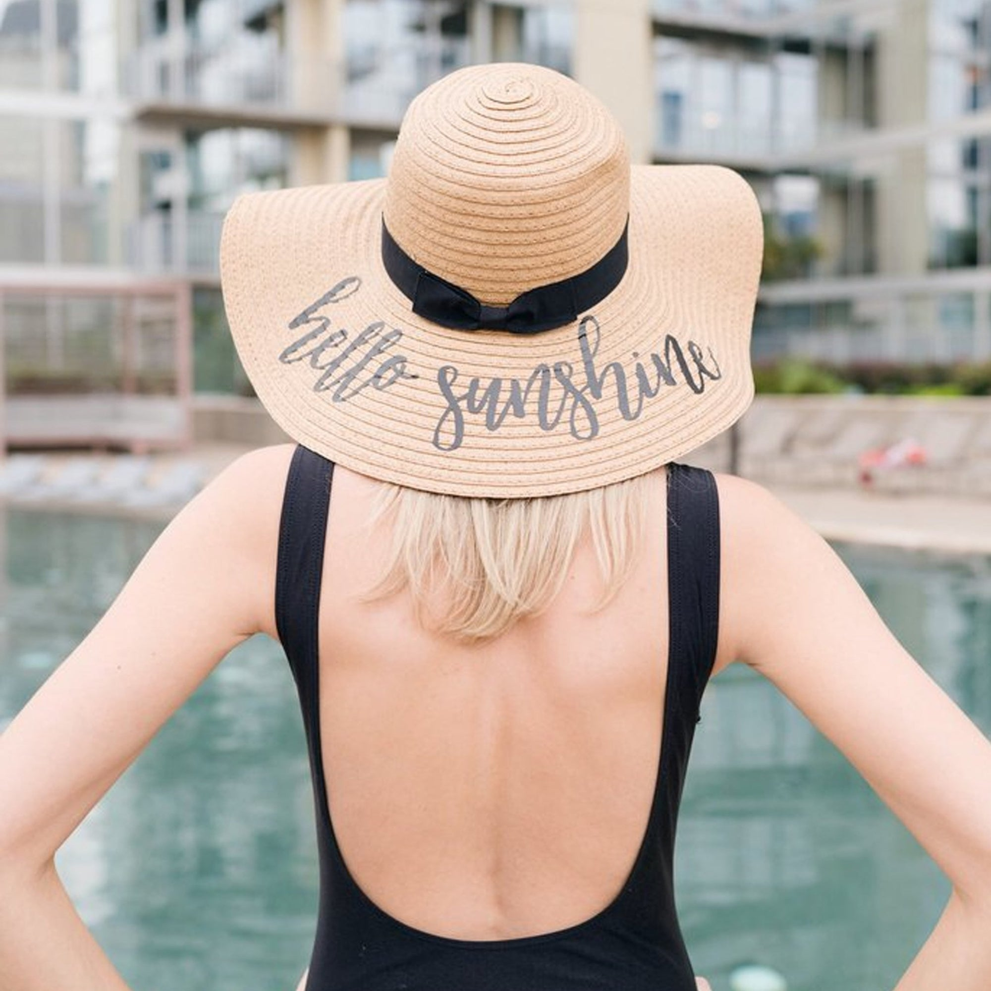 Embroidered Floppy Beach Hats - Sprinkled With Pink #bachelorette #custom #gifts
