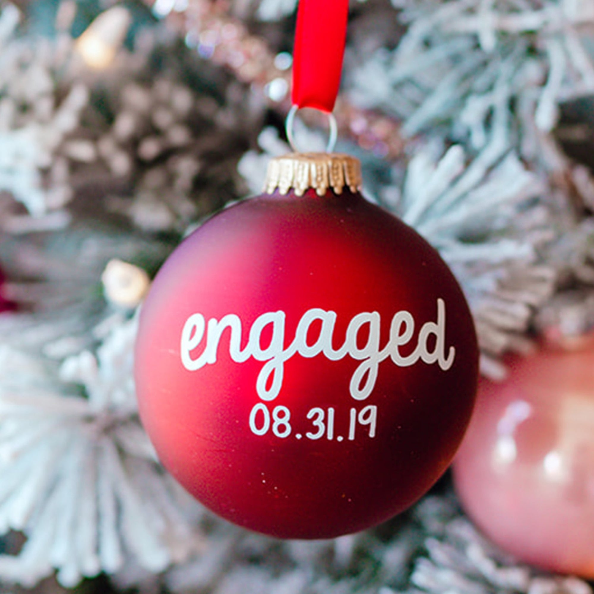 Engaged + Date Ornament