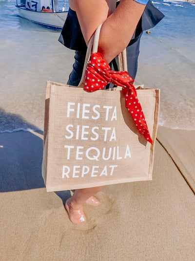 Fiesta Siesta Tequila Repeat Jute Carryall - Sprinkled With Pink #bachelorette #custom #gifts