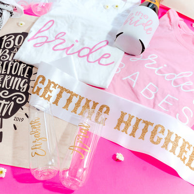 Getting Hitched Sash - Sprinkled With Pink #bachelorette #custom #gifts