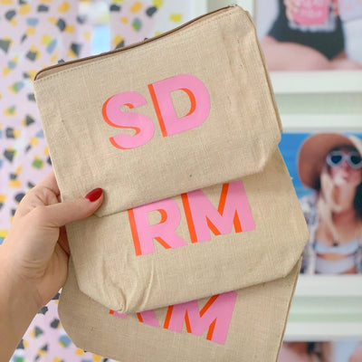 Jute Monogram Clutch - Sprinkled With Pink #bachelorette #custom #gifts