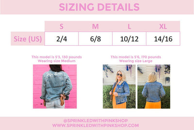 Last Name & Date Denim Jacket (middle of back) - Sprinkled With Pink #bachelorette #custom #gifts