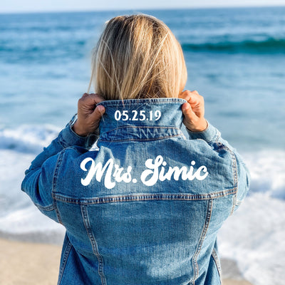 Last Name & Date Denim Jacket (top of shoulders) - Sprinkled With Pink #bachelorette #custom #gifts